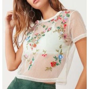 Urban Outfitters Cream Floral Mesh Top